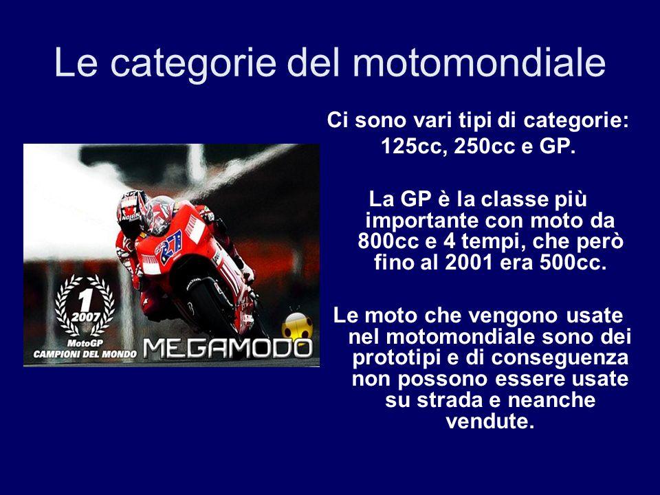 Le categorie del motomondiale Ci sono vari tipi di categorie: 125cc, 250cc e GP. La GP è la classe più importante con moto da 800cc e 4 tempi, che per
