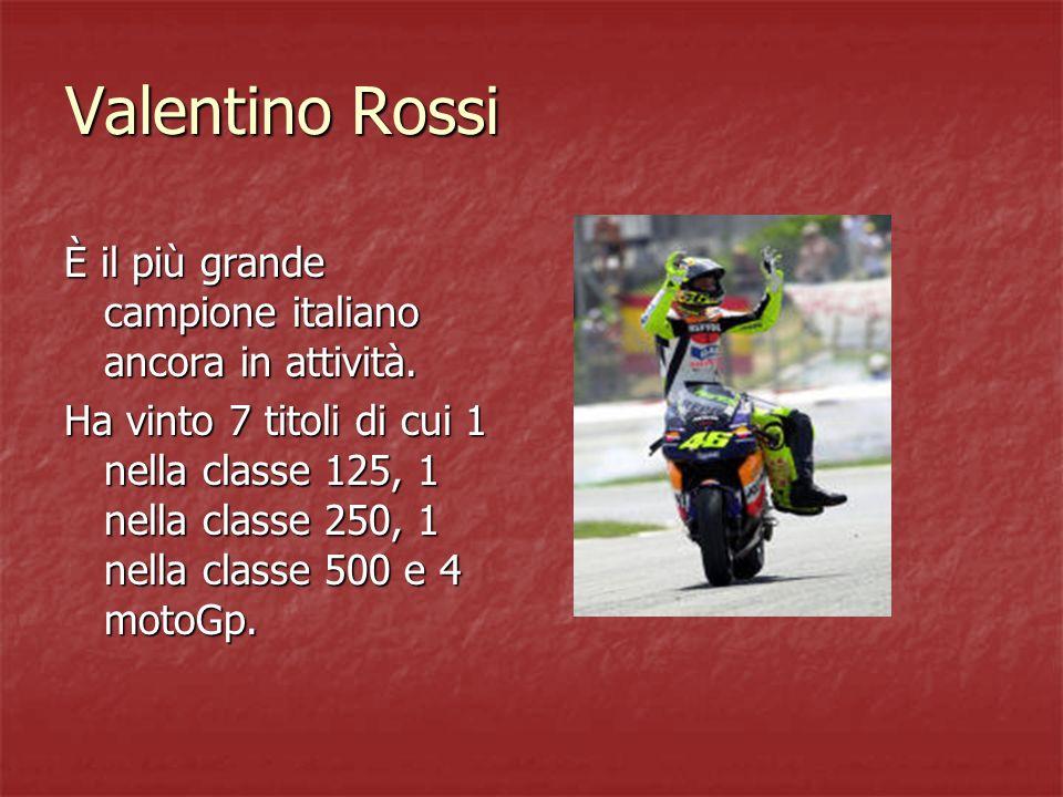 Valentino Rossi È il più grande campione italiano ancora in attività. Ha vinto 7 titoli di cui 1 nella classe 125, 1 nella classe 250, 1 nella classe