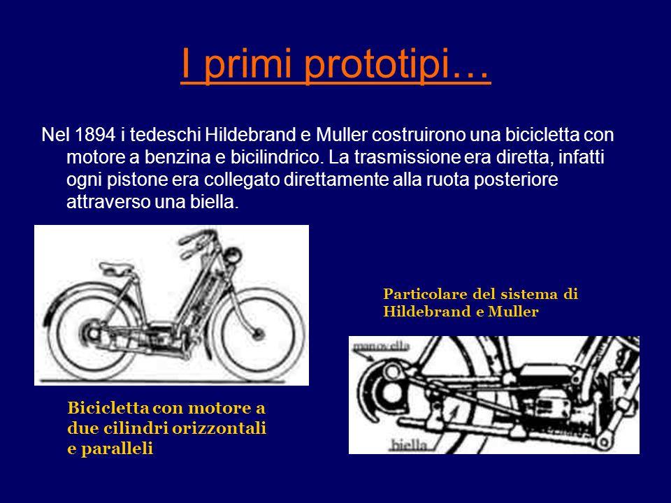 I primi prototipi… Nel 1894 i tedeschi Hildebrand e Muller costruirono una bicicletta con motore a benzina e bicilindrico. La trasmissione era diretta