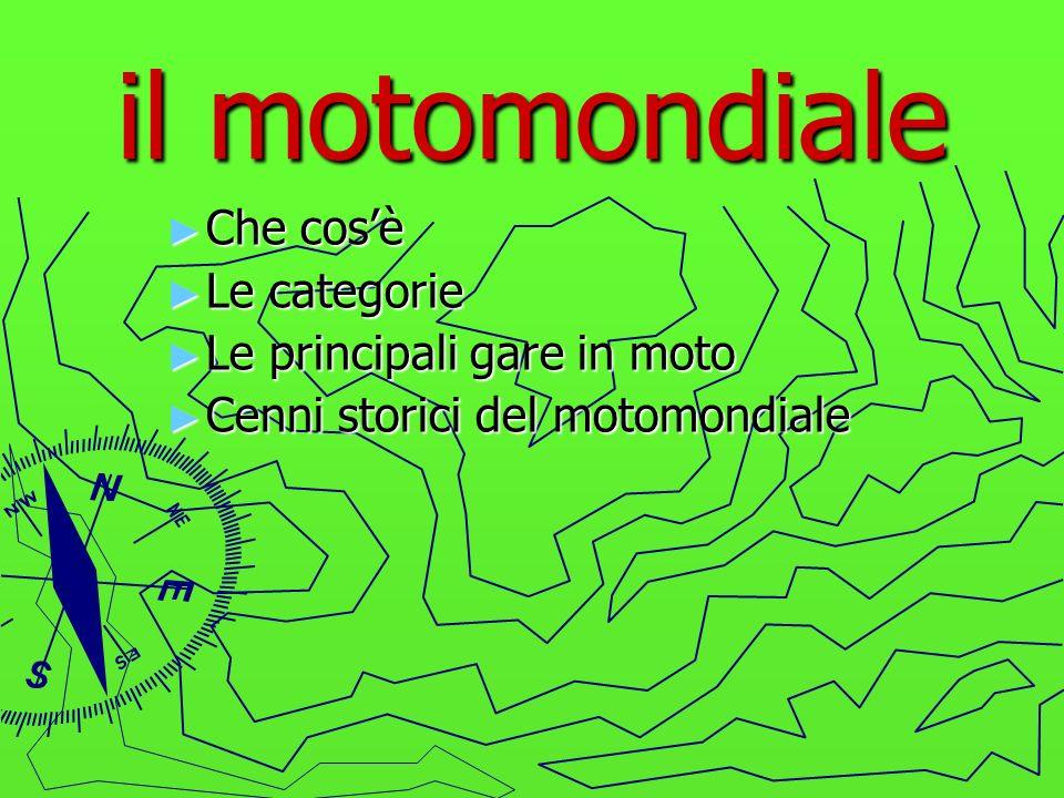 CHE COSA E IL MOTOMONDIALE Il motomondiale è il tipo di gara più importante del mondo, e si disputa attraverso dei gran premi che si corrono su dei circuiti sparsi in tutto il mondo.