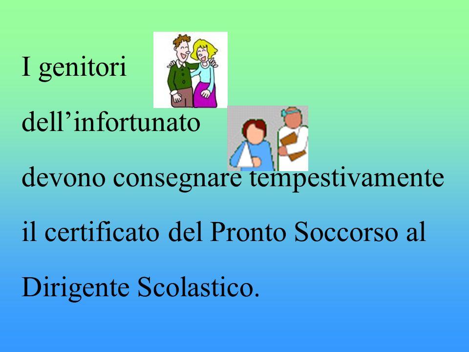 I genitori dellinfortunato devono consegnare tempestivamente il certificato del Pronto Soccorso al Dirigente Scolastico.