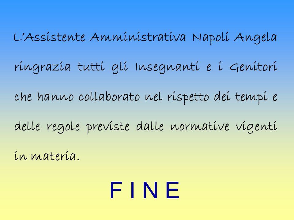 F I N E LAssistente Amministrativa Napoli Angela ringrazia tutti gli Insegnanti e i Genitori che hanno collaborato nel rispetto dei tempi e delle regole previste dalle normative vigenti in materia.