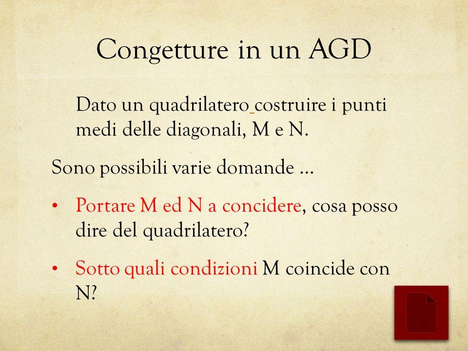 Congetture in un AGD Dato un quadrilatero costruire i punti medi delle diagonali, M e N.