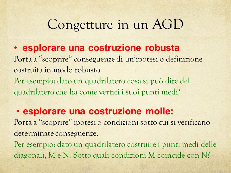 Congetture in un AGD esplorare una costruzione robusta Porta a scoprire conseguenze di unipotesi o definizione costruita in modo robusto.