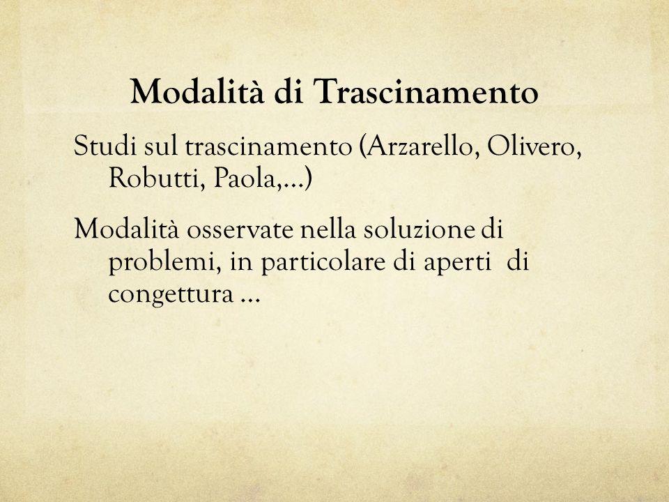 Modalità di Trascinamento Studi sul trascinamento (Arzarello, Olivero, Robutti, Paola,…) Modalità osservate nella soluzione di problemi, in particolare di aperti di congettura …