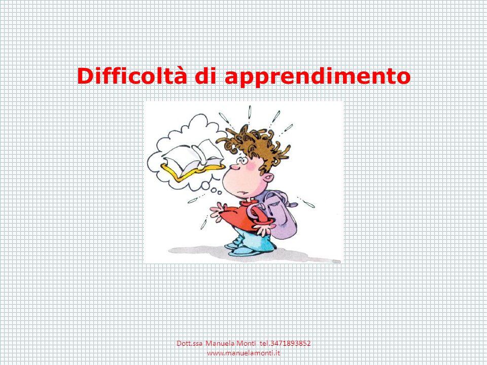 Difficoltà di apprendimento Dott.ssa Manuela Monti tel.3471893852 www.manuelamonti.it