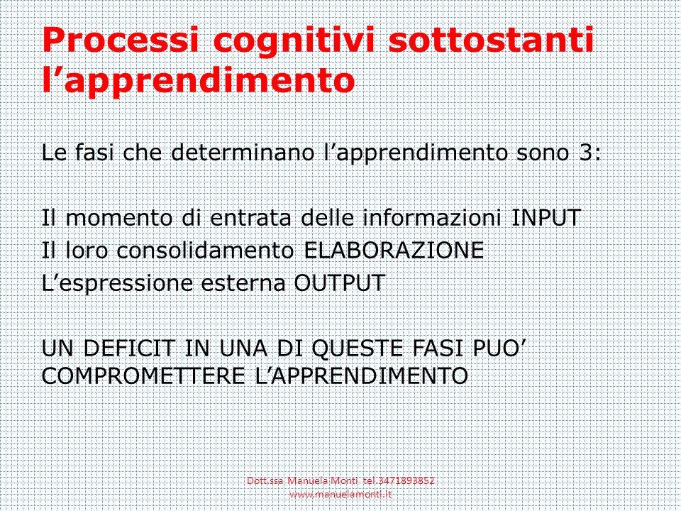 Processi cognitivi sottostanti lapprendimento Le fasi che determinano lapprendimento sono 3: Il momento di entrata delle informazioni INPUT Il loro co