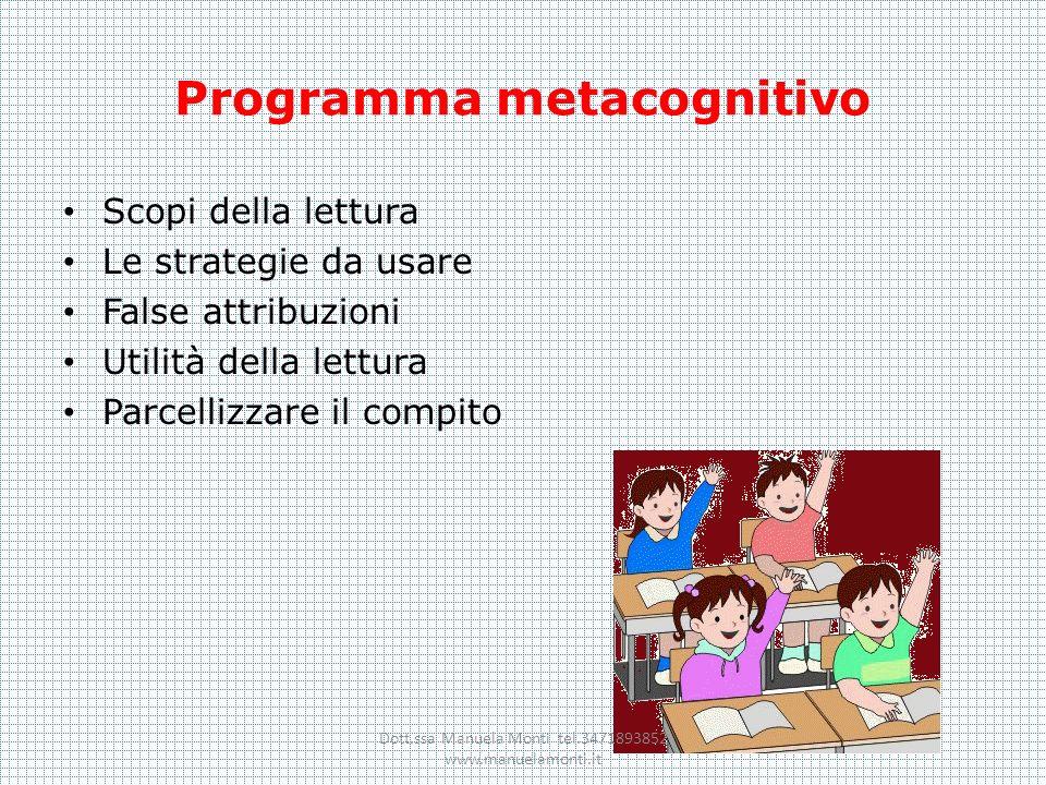 Programma metacognitivo Scopi della lettura Le strategie da usare False attribuzioni Utilità della lettura Parcellizzare il compito Dott.ssa Manuela M