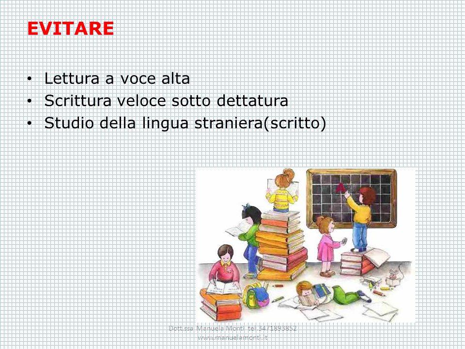 EVITARE Lettura a voce alta Scrittura veloce sotto dettatura Studio della lingua straniera(scritto) Dott.ssa Manuela Monti tel.3471893852 www.manuelam