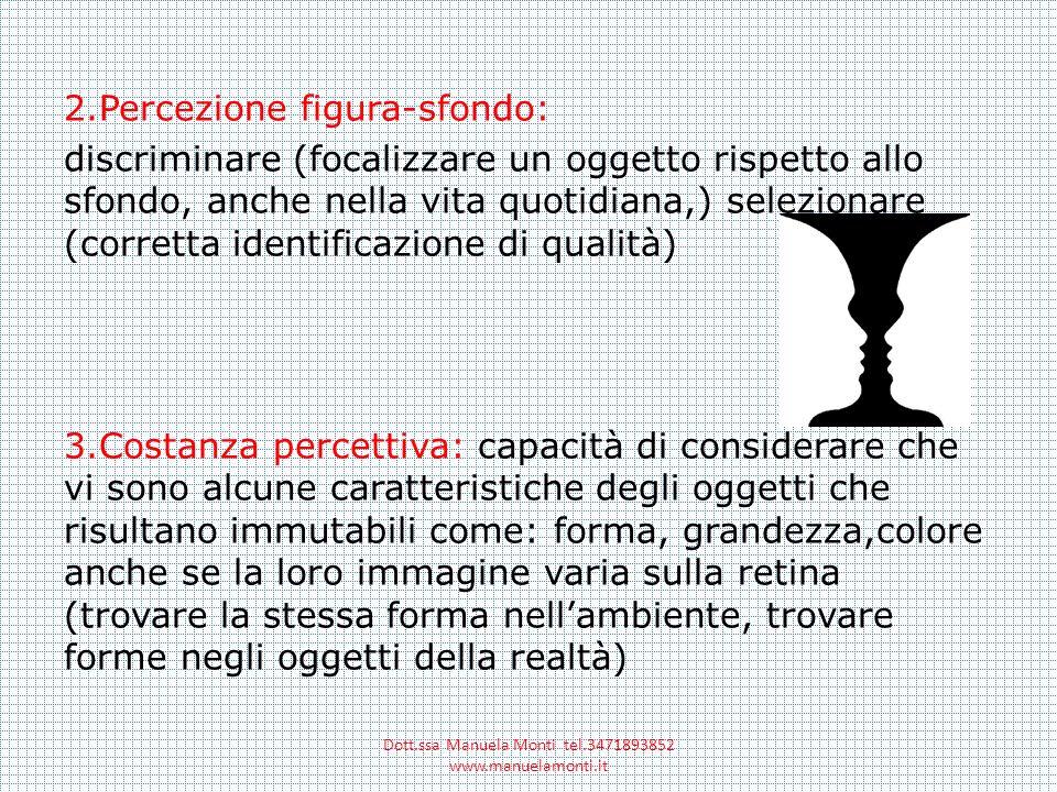 2.Percezione figura-sfondo: discriminare (focalizzare un oggetto rispetto allo sfondo, anche nella vita quotidiana,) selezionare (corretta identificaz