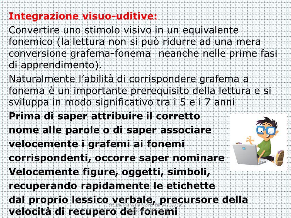Integrazione visuo-uditive: Convertire uno stimolo visivo in un equivalente fonemico (la lettura non si può ridurre ad una mera conversione grafema-fo
