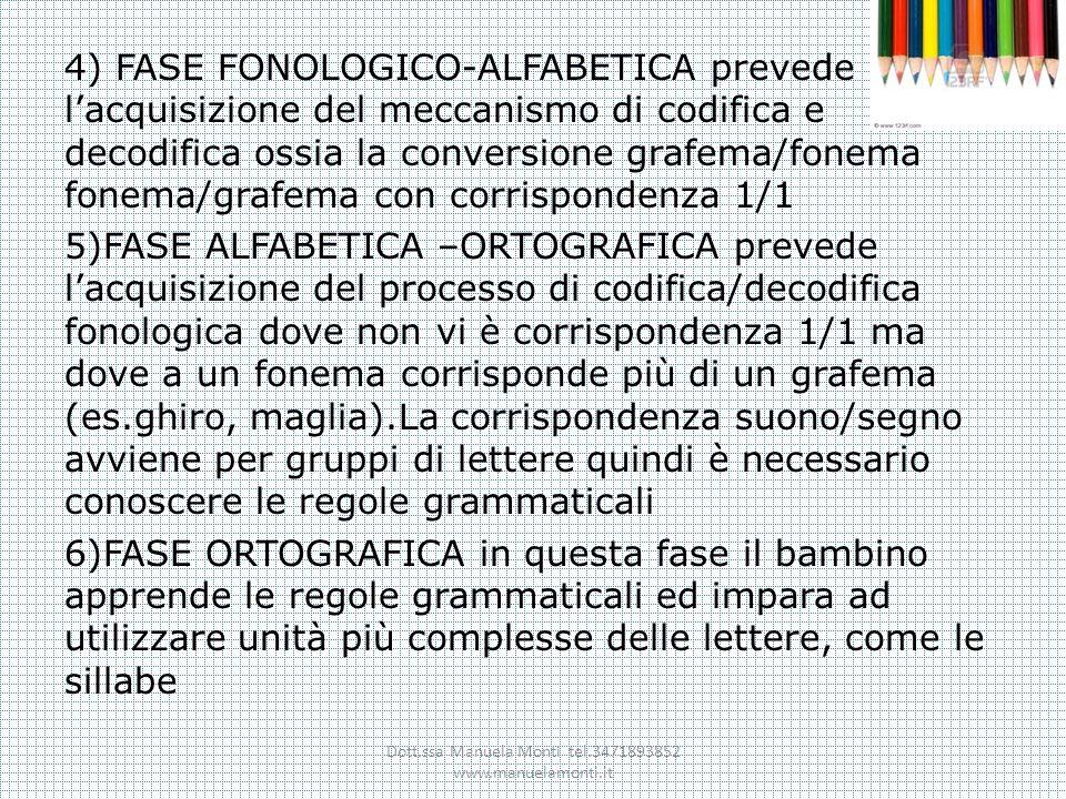 4) FASE FONOLOGICO-ALFABETICA prevede lacquisizione del meccanismo di codifica e decodifica ossia la conversione grafema/fonema fonema/grafema con cor