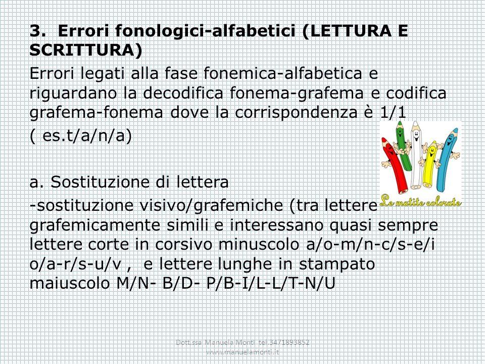 3. Errori fonologici-alfabetici (LETTURA E SCRITTURA) Errori legati alla fase fonemica-alfabetica e riguardano la decodifica fonema-grafema e codifica