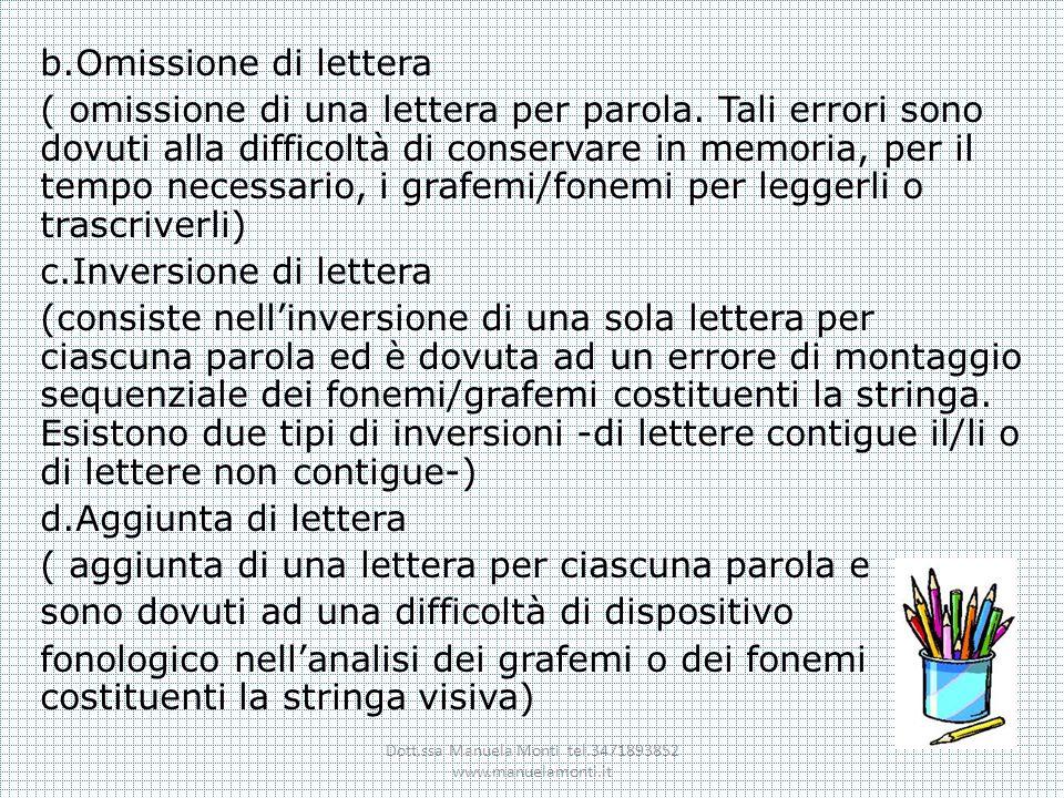 b.Omissione di lettera ( omissione di una lettera per parola. Tali errori sono dovuti alla difficoltà di conservare in memoria, per il tempo necessari