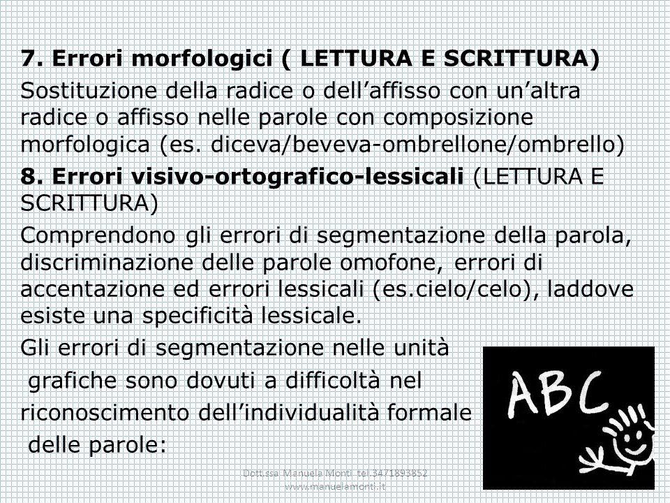7. Errori morfologici ( LETTURA E SCRITTURA) Sostituzione della radice o dellaffisso con unaltra radice o affisso nelle parole con composizione morfol