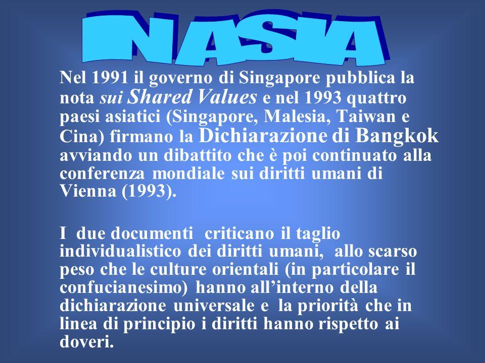 Nel 1991 il governo di Singapore pubblica la nota sui Shared Values e nel 1993 quattro paesi asiatici (Singapore, Malesia, Taiwan e Cina) firmano la D
