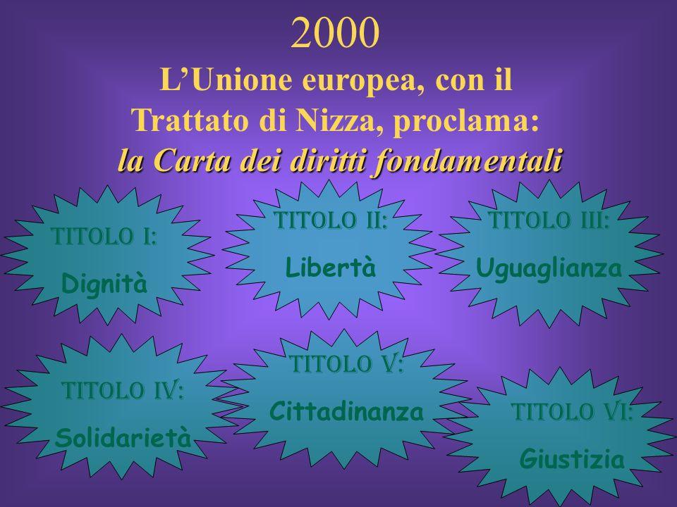 2000 LUnione europea, con il Trattato di Nizza, proclama: l ll la Carta dei diritti fondamentali Titolo I: Dignità Titolo II: Libertà Titolo IV: Solid