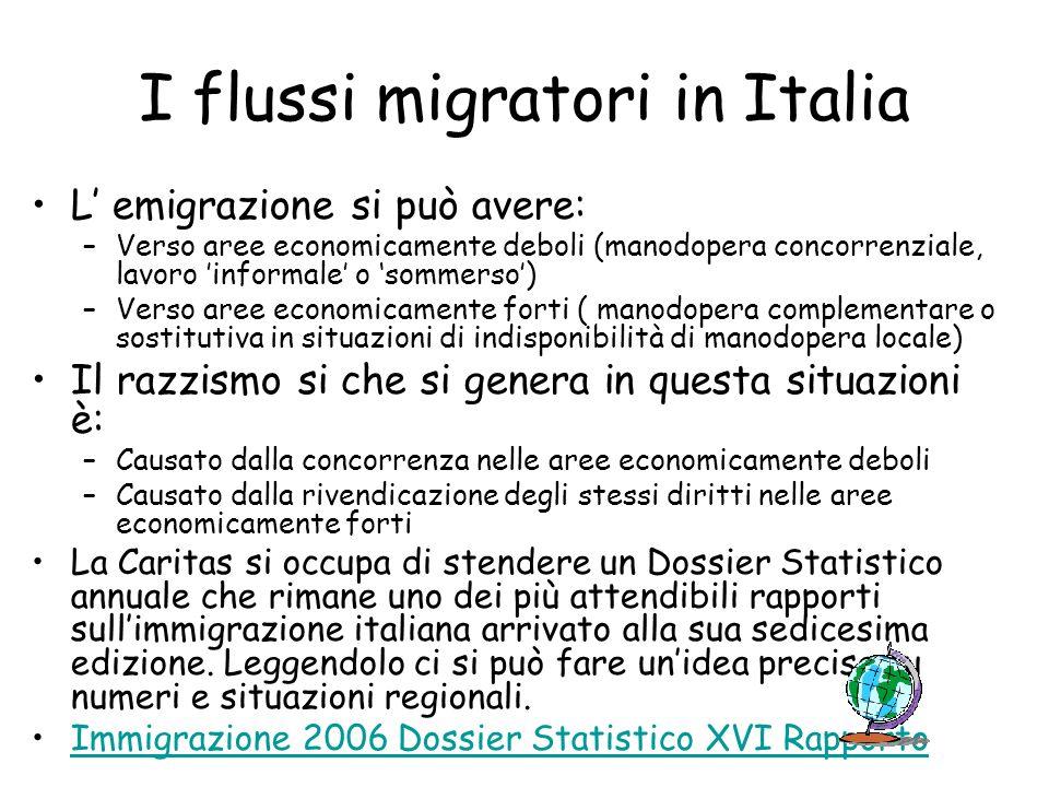 I flussi migratori in Italia L emigrazione si può avere: –Verso aree economicamente deboli (manodopera concorrenziale, lavoro informale o sommerso) –V