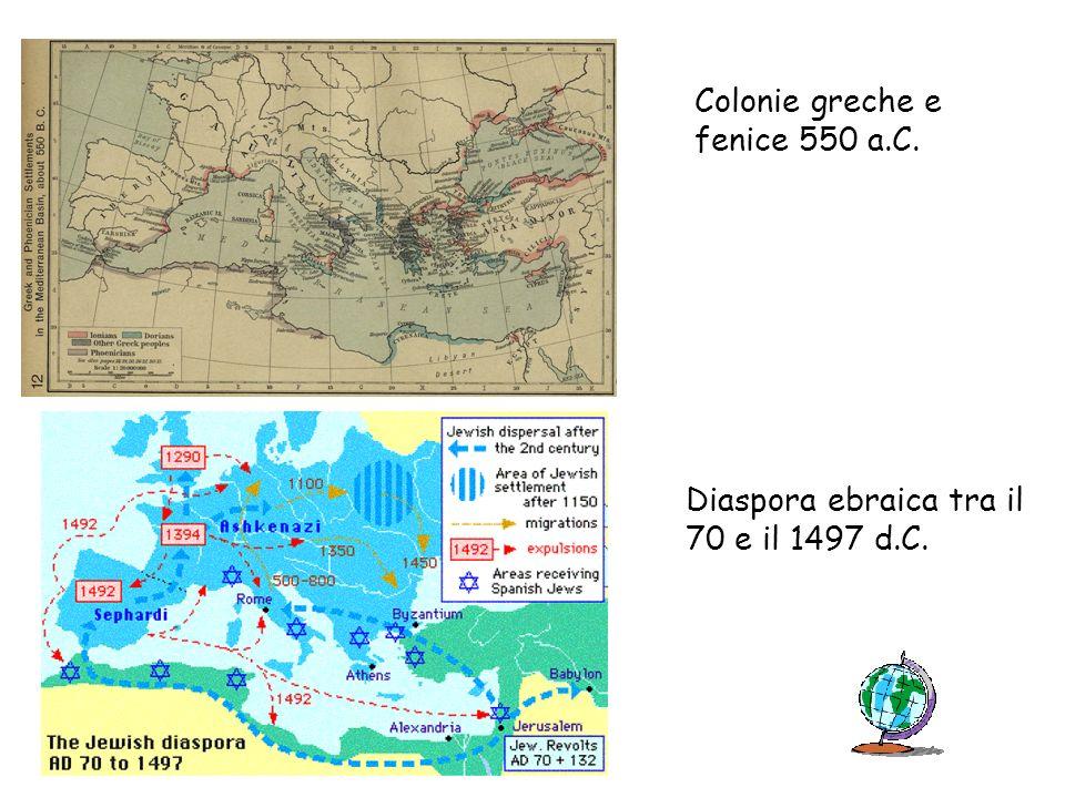Colonie greche e fenice 550 a.C. Diaspora ebraica tra il 70 e il 1497 d.C.
