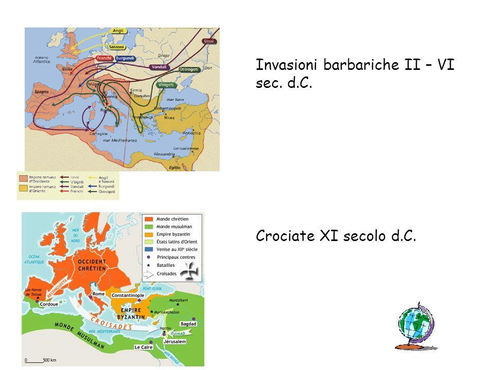 Invasioni barbariche II – VI sec. d.C. Crociate XI secolo d.C.