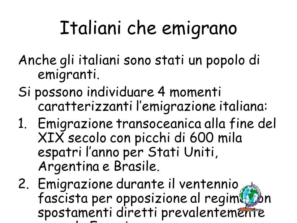 Italiani che emigrano Anche gli italiani sono stati un popolo di emigranti. Si possono individuare 4 momenti caratterizzanti lemigrazione italiana: 1.