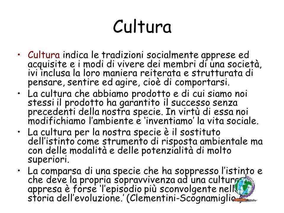 Cultura Cultura indica le tradizioni socialmente apprese ed acquisite e i modi di vivere dei membri di una società, ivi inclusa la loro maniera reiter