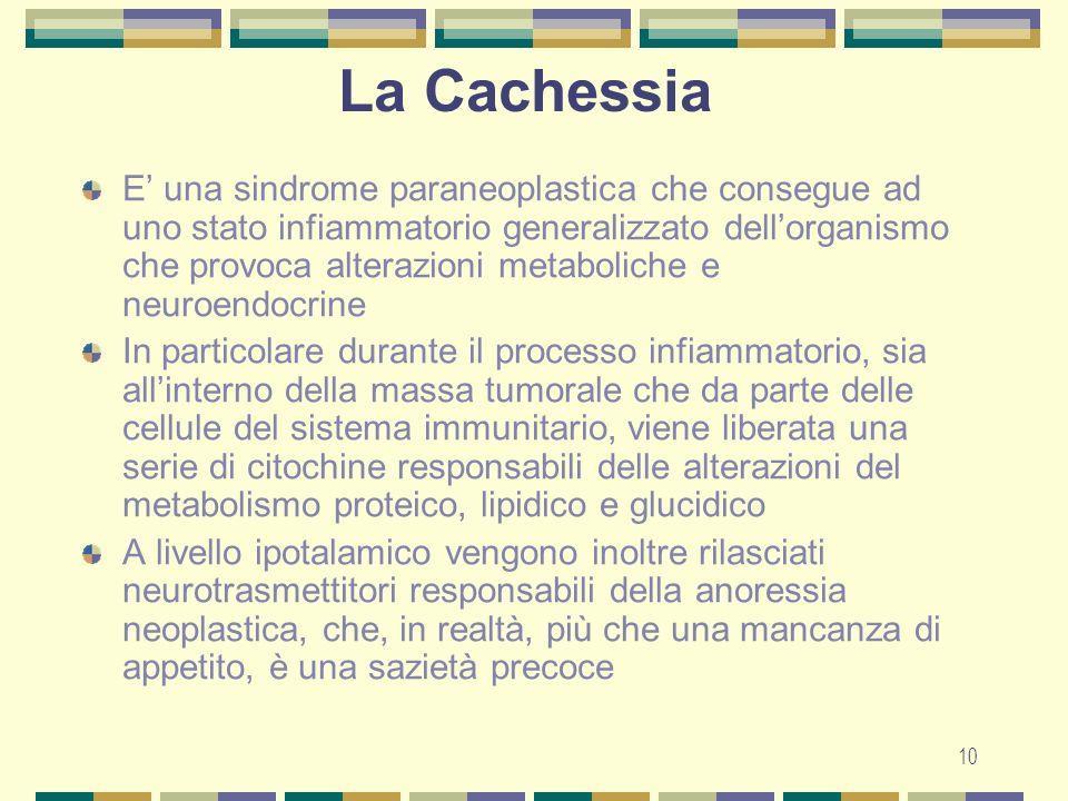 10 La Cachessia E una sindrome paraneoplastica che consegue ad uno stato infiammatorio generalizzato dellorganismo che provoca alterazioni metaboliche e neuroendocrine In particolare durante il processo infiammatorio, sia allinterno della massa tumorale che da parte delle cellule del sistema immunitario, viene liberata una serie di citochine responsabili delle alterazioni del metabolismo proteico, lipidico e glucidico A livello ipotalamico vengono inoltre rilasciati neurotrasmettitori responsabili della anoressia neoplastica, che, in realtà, più che una mancanza di appetito, è una sazietà precoce
