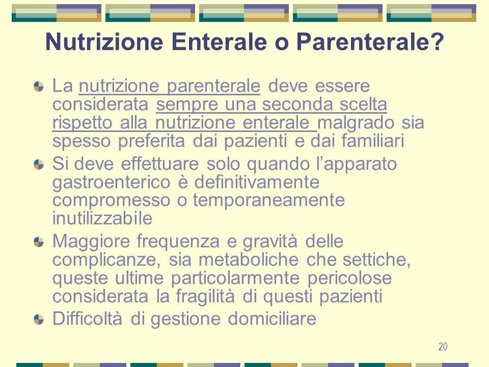 20 Nutrizione Enterale o Parenterale.