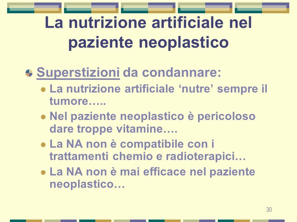 30 La nutrizione artificiale nel paziente neoplastico Superstizioni da condannare: La nutrizione artificiale nutre sempre il tumore…..
