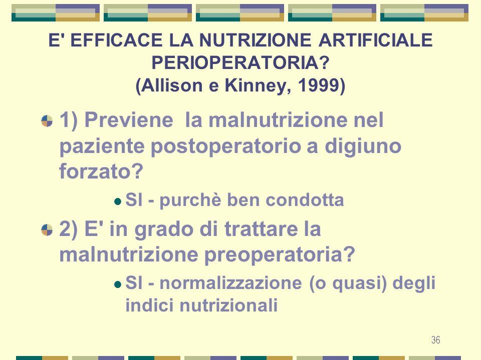 36 1) Previene la malnutrizione nel paziente postoperatorio a digiuno forzato.