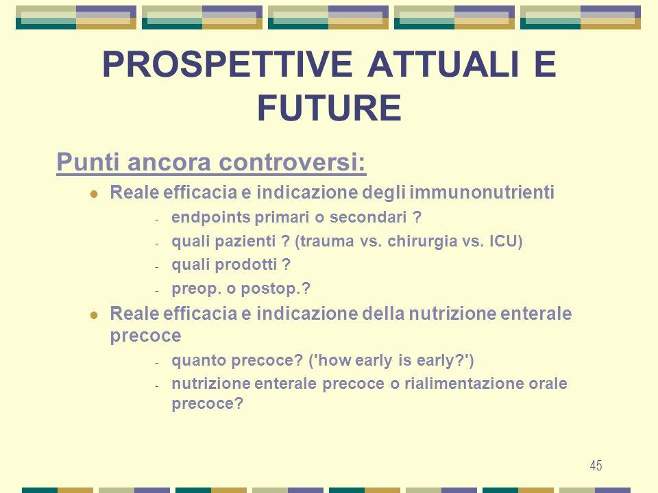45 PROSPETTIVE ATTUALI E FUTURE Punti ancora controversi: Reale efficacia e indicazione degli immunonutrienti - endpoints primari o secondari .