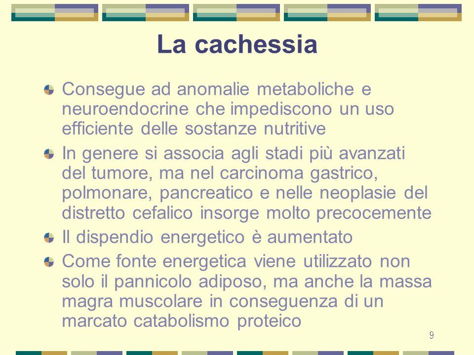 9 La cachessia Consegue ad anomalie metaboliche e neuroendocrine che impediscono un uso efficiente delle sostanze nutritive In genere si associa agli stadi più avanzati del tumore, ma nel carcinoma gastrico, polmonare, pancreatico e nelle neoplasie del distretto cefalico insorge molto precocemente Il dispendio energetico è aumentato Come fonte energetica viene utilizzato non solo il pannicolo adiposo, ma anche la massa magra muscolare in conseguenza di un marcato catabolismo proteico