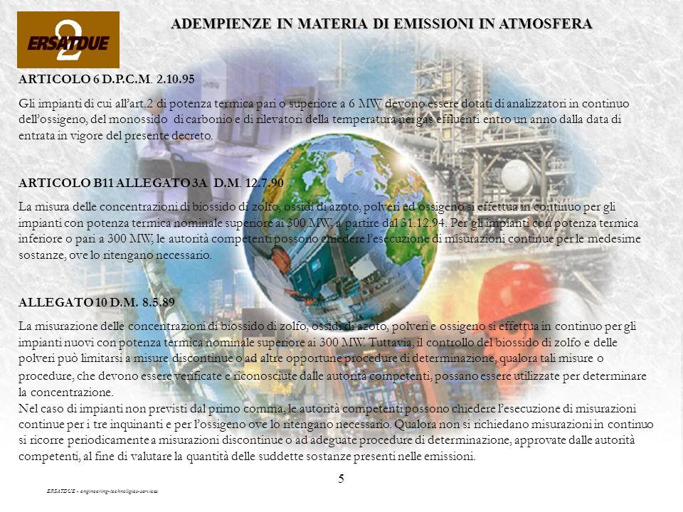 5 ADEMPIENZE IN MATERIA DI EMISSIONI IN ATMOSFERA ERSATDUE - engineering-technoligies-services ARTICOLO 6 D.P.C.M.