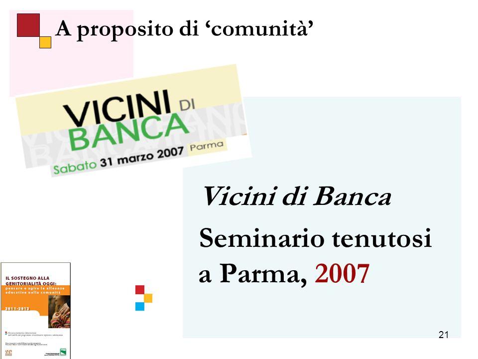 21 A proposito di comunità Vicini di Banca Seminario tenutosi a Parma, 2007