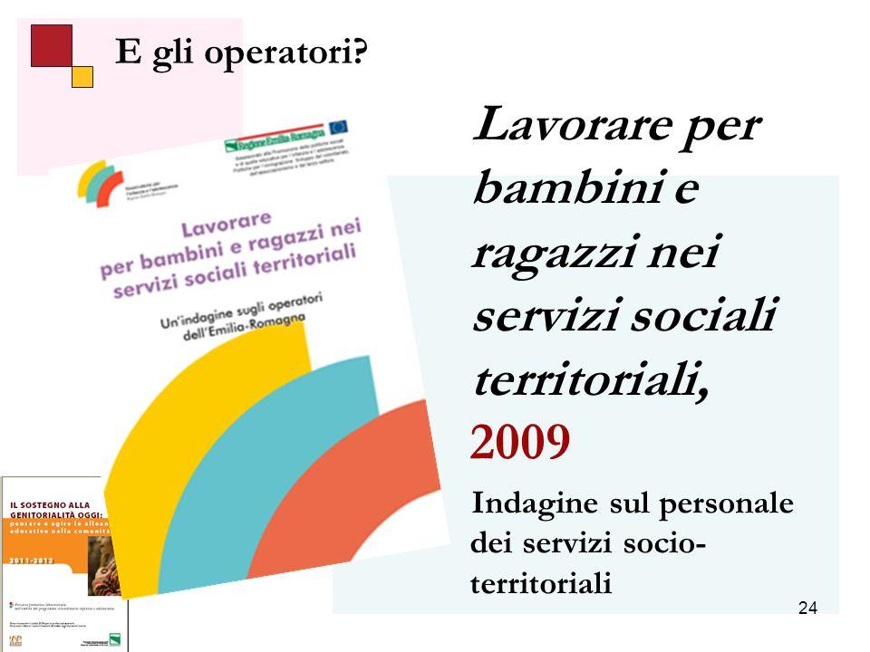 24 Lavorare per bambini e ragazzi nei servizi sociali territoriali, 2009 Indagine sul personale dei servizi socio- territoriali E gli operatori