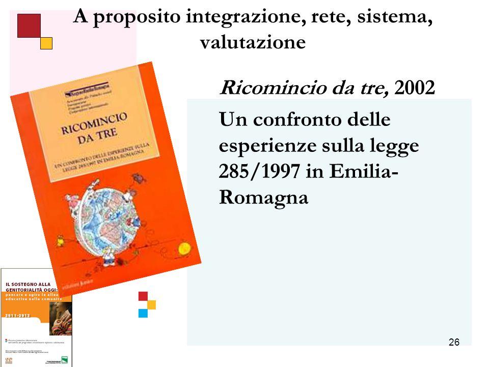 26 A proposito integrazione, rete, sistema, valutazione Ricomincio da tre, 2002 Un confronto delle esperienze sulla legge 285/1997 in Emilia- Romagna