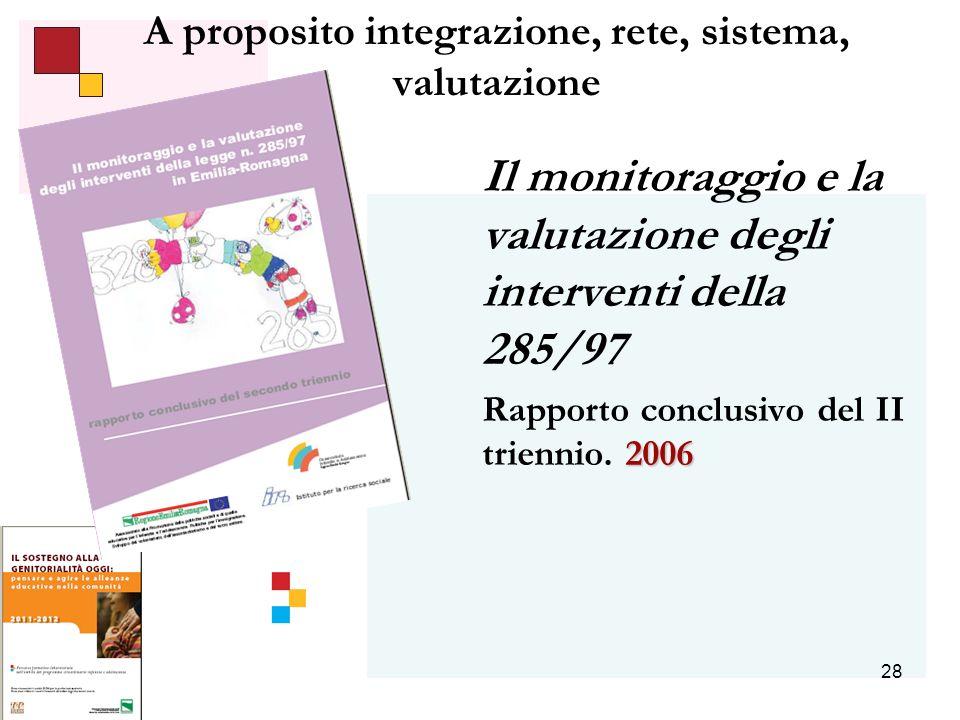 28 A proposito integrazione, rete, sistema, valutazione Il monitoraggio e la valutazione degli interventi della 285/97 2006 Rapporto conclusivo del II triennio.