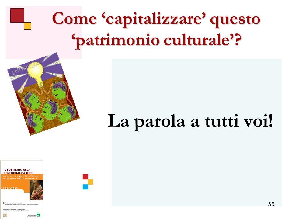 35 Come capitalizzare questo patrimonio culturale La parola a tutti voi!