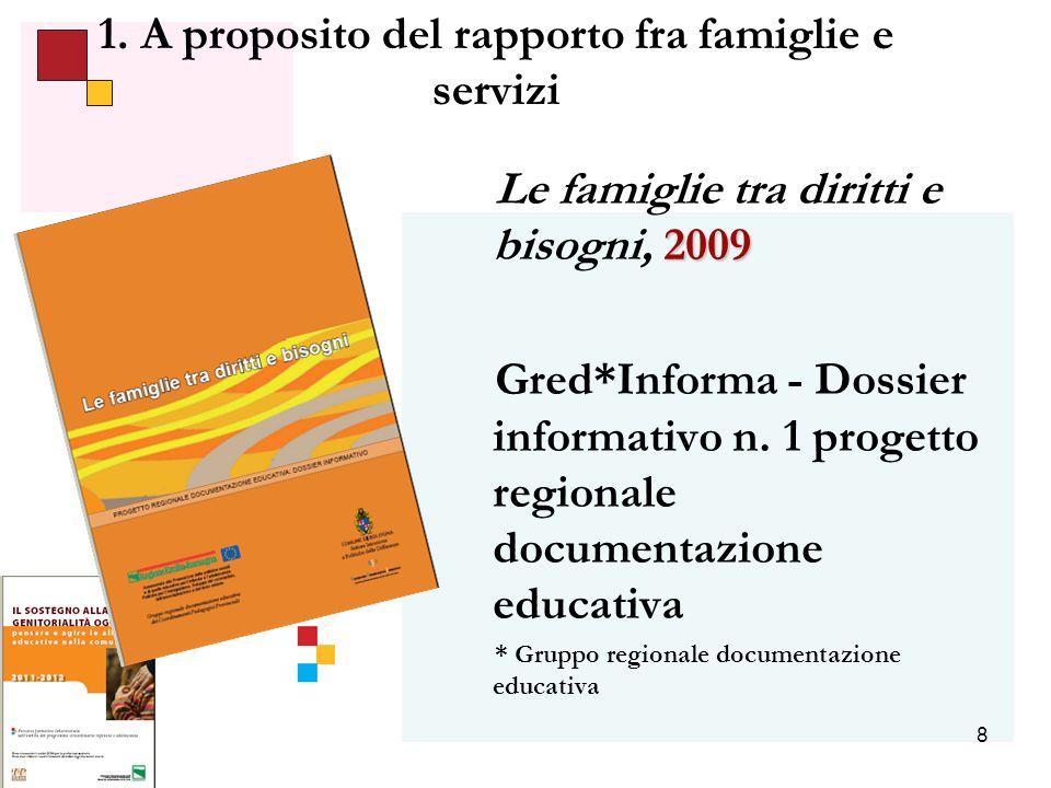 8 1. A proposito del rapporto fra famiglie e servizi 2009 Le famiglie tra diritti e bisogni, 2009 Gred*Informa - Dossier informativo n. 1 progetto reg