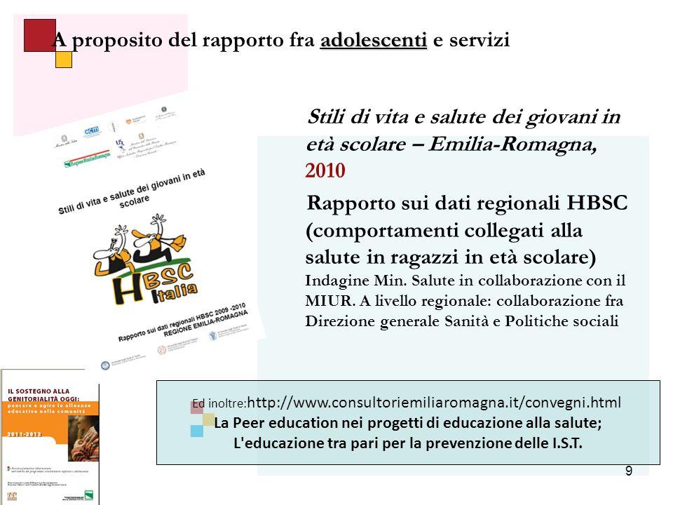 9 adolescenti A proposito del rapporto fra adolescenti e servizi Stili di vita e salute dei giovani in età scolare – Emilia-Romagna, 2010 Rapporto sui dati regionali HBSC (comportamenti collegati alla salute in ragazzi in età scolare) Indagine Min.