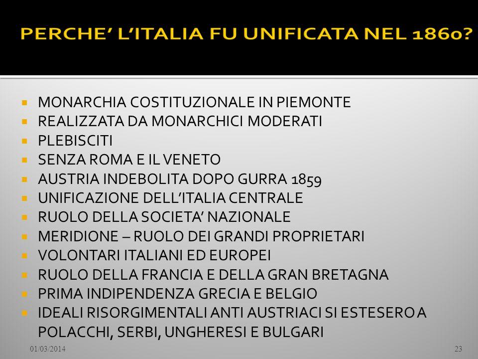 MONARCHIA COSTITUZIONALE IN PIEMONTE REALIZZATA DA MONARCHICI MODERATI PLEBISCITI SENZA ROMA E IL VENETO AUSTRIA INDEBOLITA DOPO GURRA 1859 UNIFICAZIO
