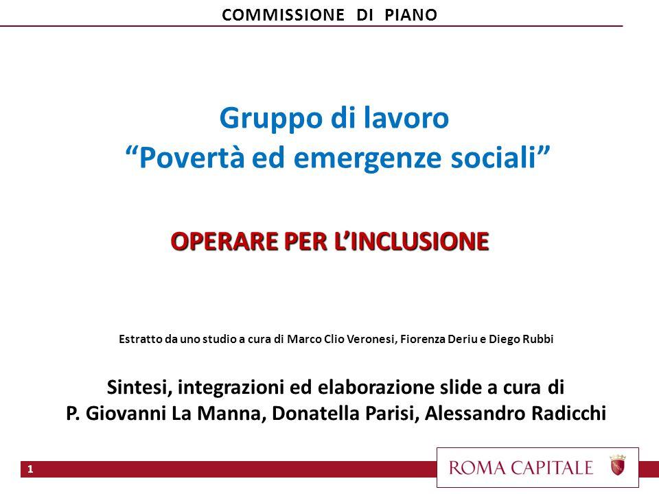 Gruppo di lavoro Povertà ed emergenze sociali OPERARE PER LINCLUSIONE Estratto da uno studio a cura di Marco Clio Veronesi, Fiorenza Deriu e Diego Rub