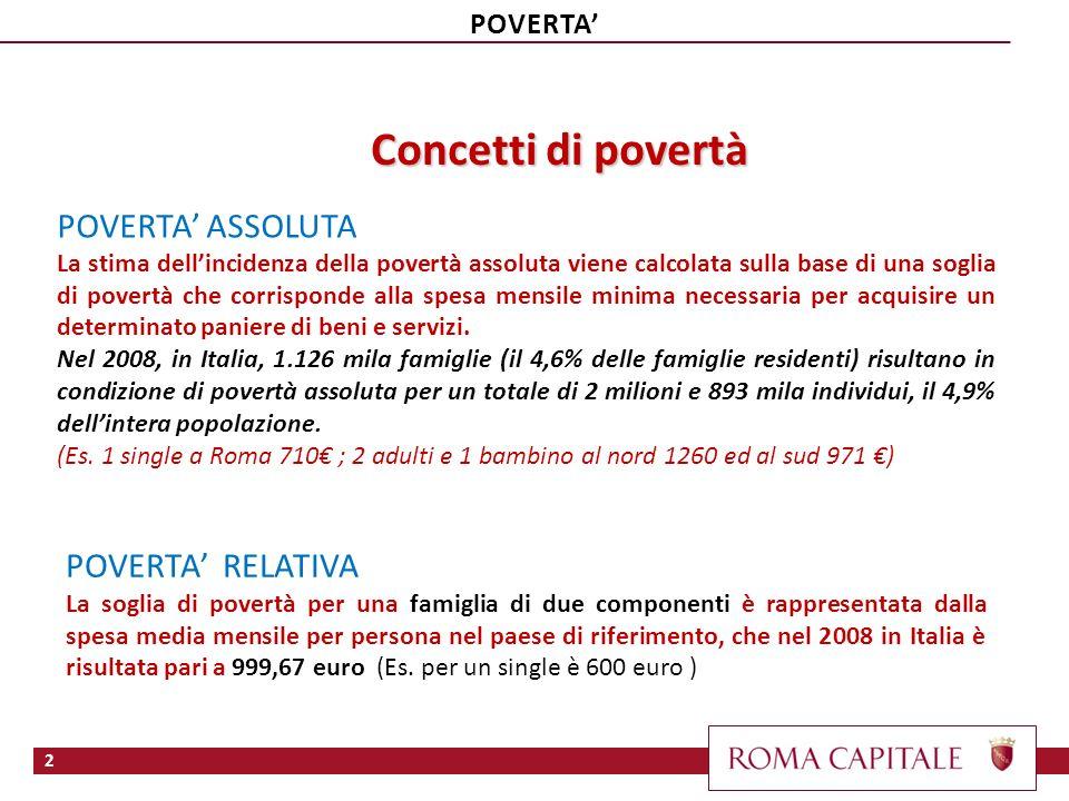 Concetti di povertà POVERTA ASSOLUTA La stima dellincidenza della povertà assoluta viene calcolata sulla base di una soglia di povertà che corrisponde