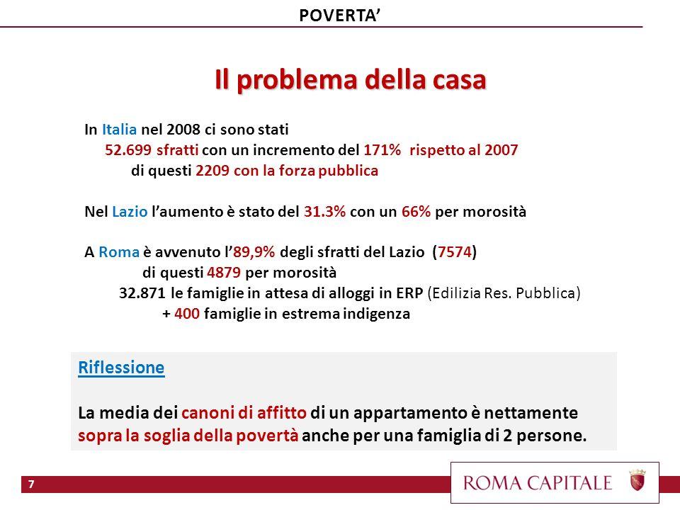 Il problema della casa In Italia nel 2008 ci sono stati 52.699 sfratti con un incremento del 171% rispetto al 2007 di questi 2209 con la forza pubblic