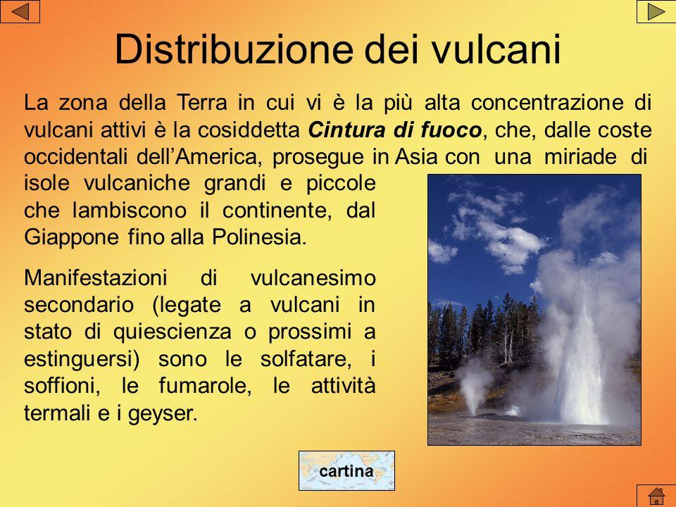 Distribuzione dei vulcani La zona della Terra in cui vi è la più alta concentrazione di vulcani attivi è la cosiddetta Cintura di fuoco, che, dalle co