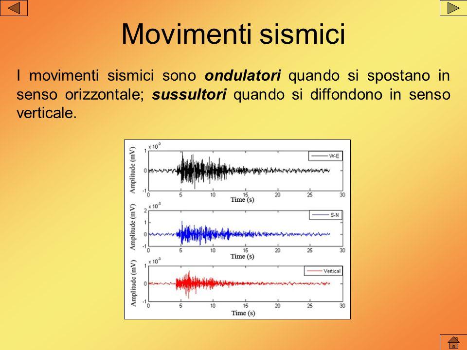Movimenti sismici I movimenti sismici sono ondulatori quando si spostano in senso orizzontale; sussultori quando si diffondono in senso verticale.