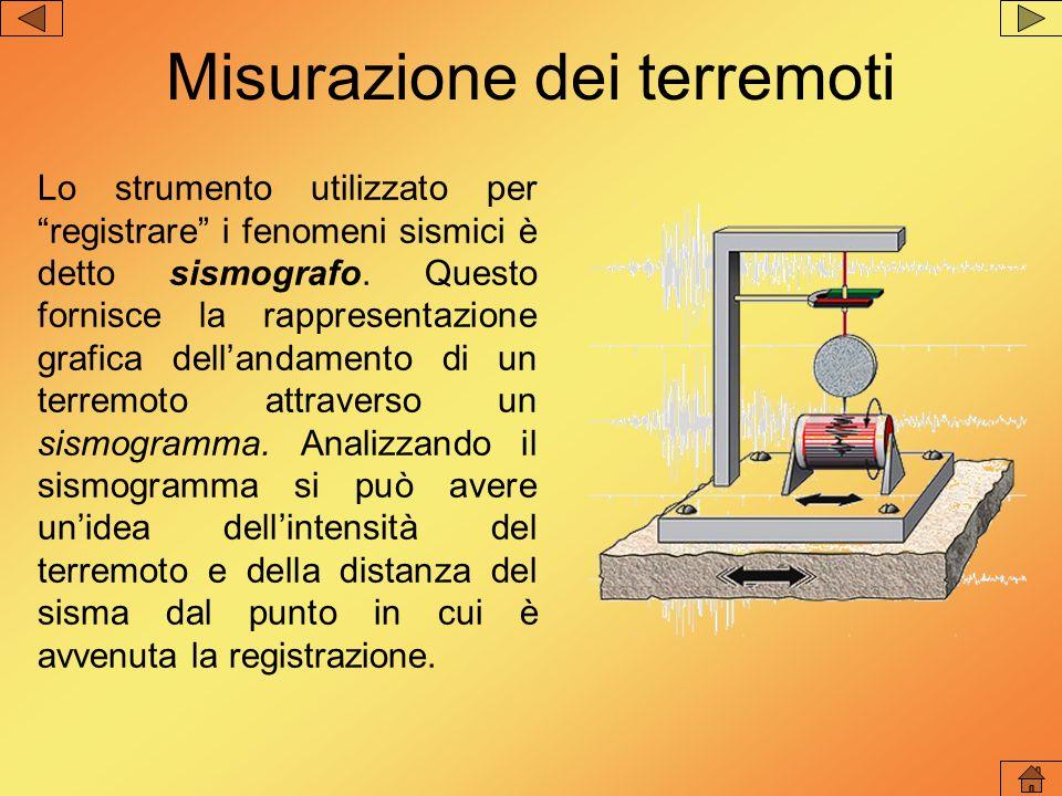 Misurazione dei terremoti Lo strumento utilizzato per registrare i fenomeni sismici è detto sismografo. Questo fornisce la rappresentazione grafica de
