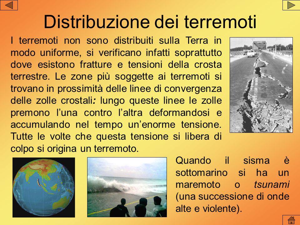 Distribuzione dei terremoti I terremoti non sono distribuiti sulla Terra in modo uniforme, si verificano infatti soprattutto dove esistono fratture e