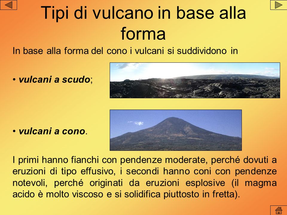 Tipi di vulcano in base allattività attivi: vulcani che entrano periodicamente in eruzione; quiescenti: vulcani che per lunghi periodi non hanno avuto eruzioni, ma nei quali lemissione di gas testimonia che i vulcani non sono ancora spenti; spenti: vulcani che da moltissimo tempo non danno alcun segno di vita.