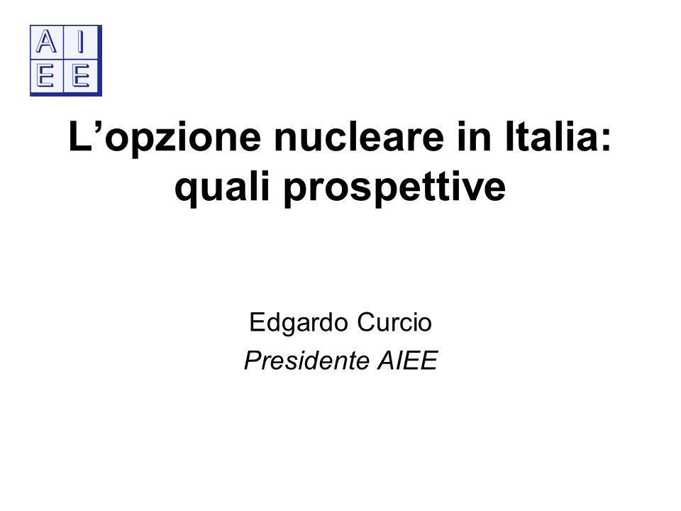 Lopzione nucleare in Italia: quali prospettive Edgardo Curcio Presidente AIEE